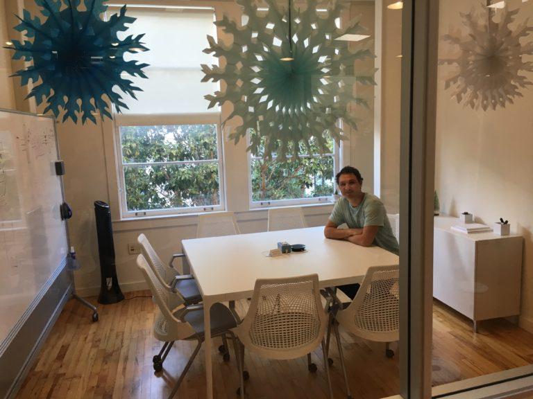 McCaleb under festive – or ironic – holiday decorations